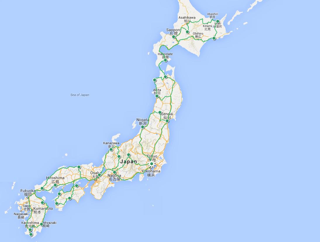 Rail tour map